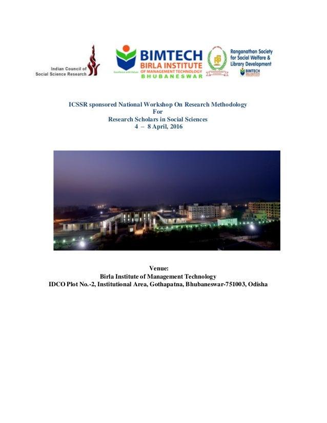 ICSSR sponsored Workshop On Research Methodology in Social