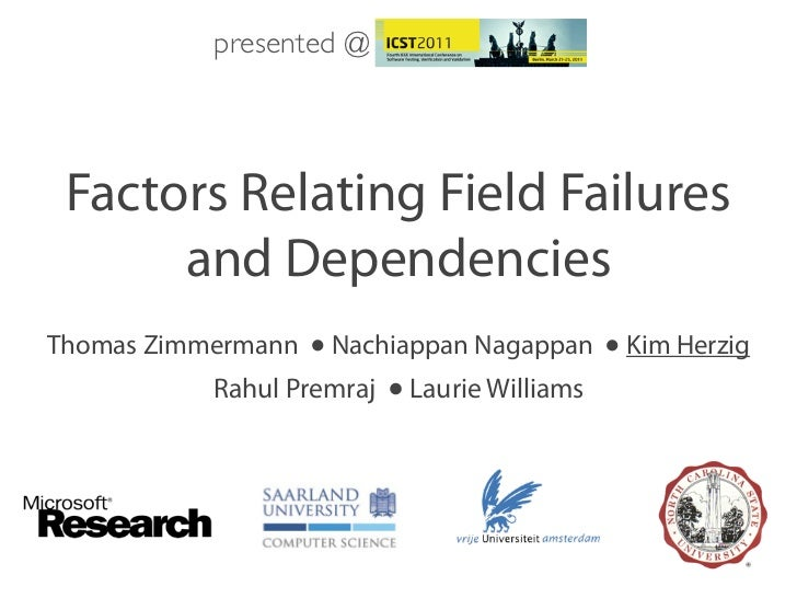 presented @ Factors Relating Field Failures      and DependenciesThomas Zimmermann ● Nachiappan Nagappan ● Kim Herzig     ...