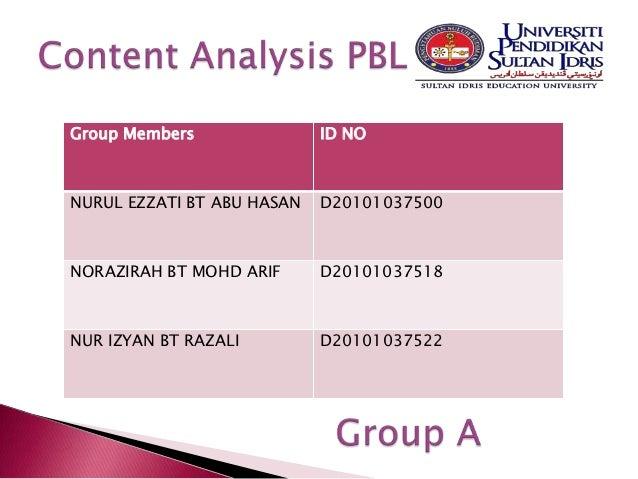 Group Members               ID NONURUL EZZATI BT ABU HASAN   D20101037500NORAZIRAH BT MOHD ARIF      D20101037518NUR IZYAN...