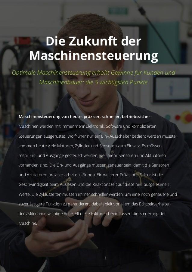 Die Zukunft der Maschinensteuerung Optimale Maschinensteuerung erhöht Gewinne für Kunden und Maschinenbauer: die 5 wichtig...