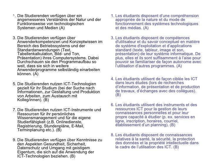 1. Die Studierenden verfügen über ein             1. Les étudiants disposent d'une compréhension    angemessenes Verständn...