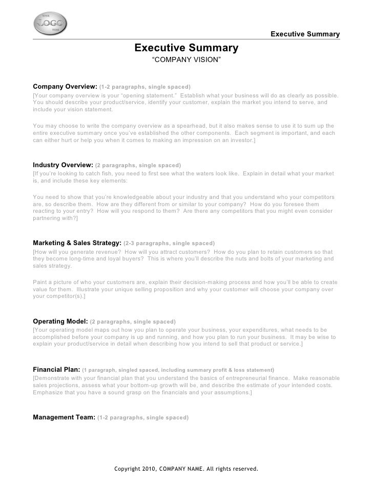 Executive Report Template Sample Executive Summary Executive