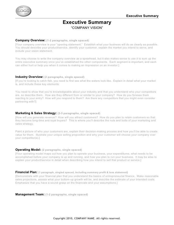 Business Summary Template Venturecapitalupdatecom - Business plan executive summary template