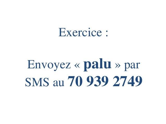 Exercice : Envoyez «palu» par SMS au 70 939 2749
