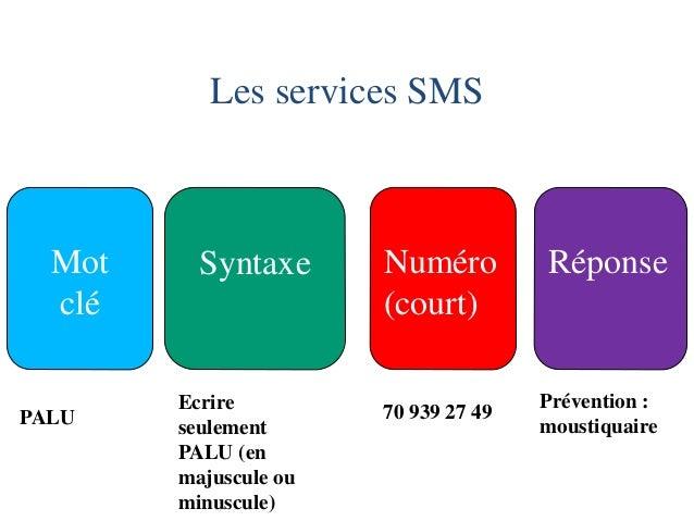 Les services SMS  Mot  clé  Syntaxe  Numéro  (court)  Réponse  PALU  70 939 27 49  Prévention : moustiquaire  Ecrire seule...