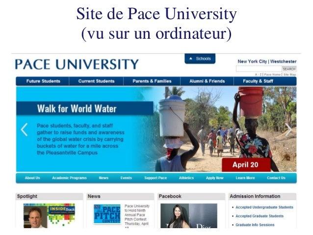 Site de Pace University  (vu sur un mobile)