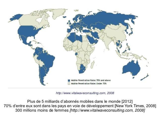 Source: http://www.vitalwaveconsulting.com, 2008  Plus de 5 milliards d'abonnés mobiles dans le monde [2012]  70% d'entre ...