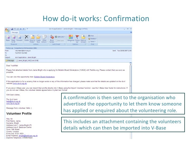 How do-it works: Confirmation A confirmation is then sent to the organisation who advertised the opportunity to let them k...