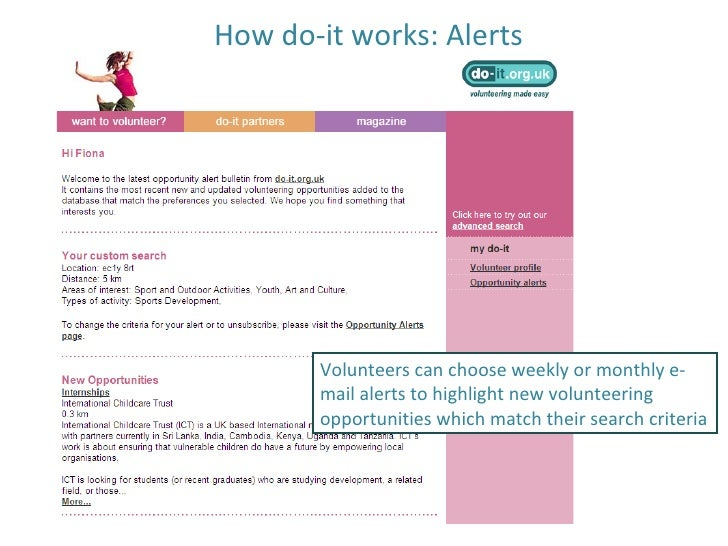 How do-it works: Alerts Volunteers can choose weekly or monthly e-mail alerts to highlight new volunteering opportunities ...