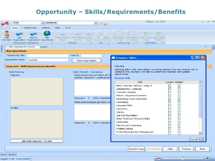 Opportunity – Skills/Requirements/Benefits