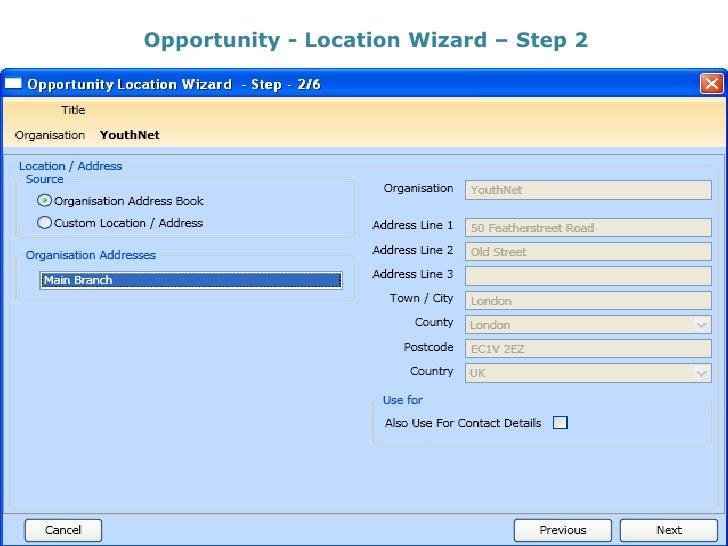 Opportunity - Location Wizard – Step 2