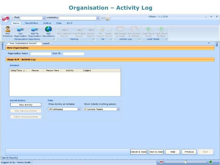 Organisation – Activity Log