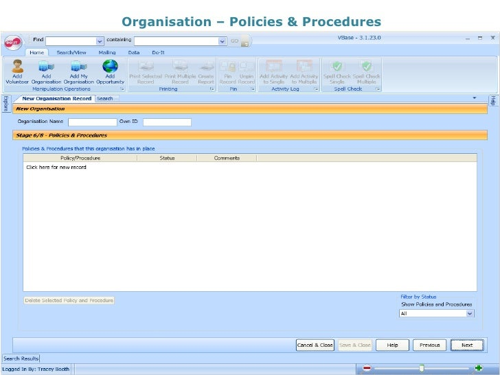 Organisation – Policies & Procedures