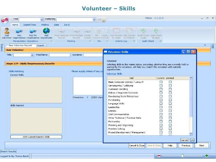 Volunteer – Skills