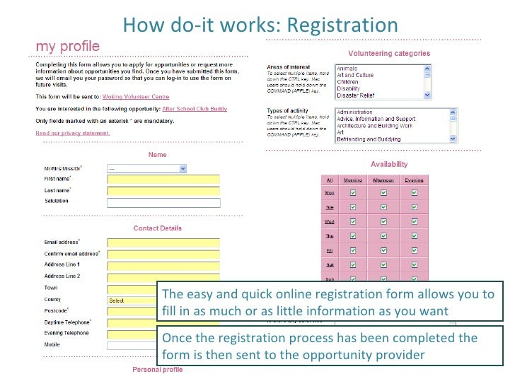 How do-it works: Registration The easy and quick online registration form allows you to fill in as much or as little infor...