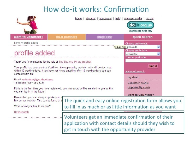 How do-it works: Confirmation The quick and easy online registration form allows you to fill in as much or as little infor...