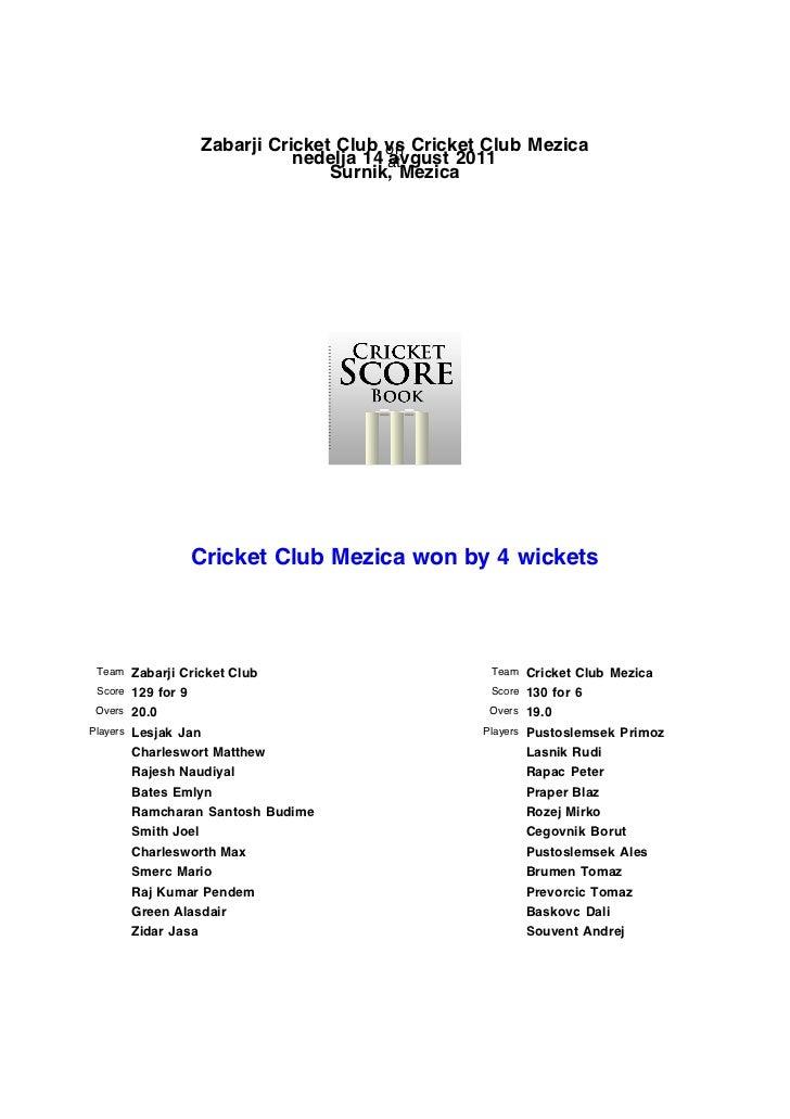 Zabarji Cricket Club vs Cricket Club Mezica                                          on                               nede...