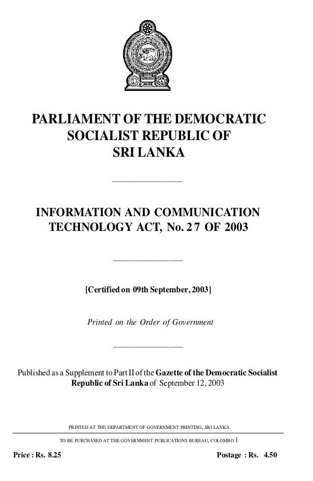 PARLIAMENT OF THE DEMOCRATIC          SOCIALIST REPUBLIC OF               SRI LANKA                                   ————...