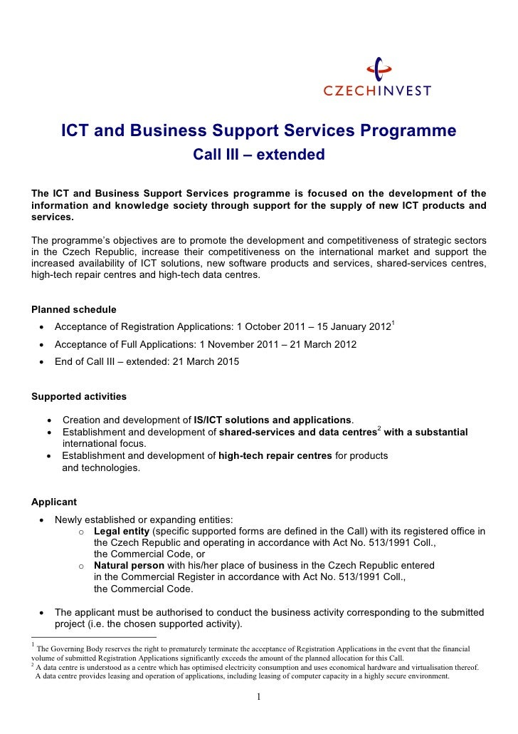 ICT and Business Support Services Programme                                                   Call III – extendedThe ICT a...