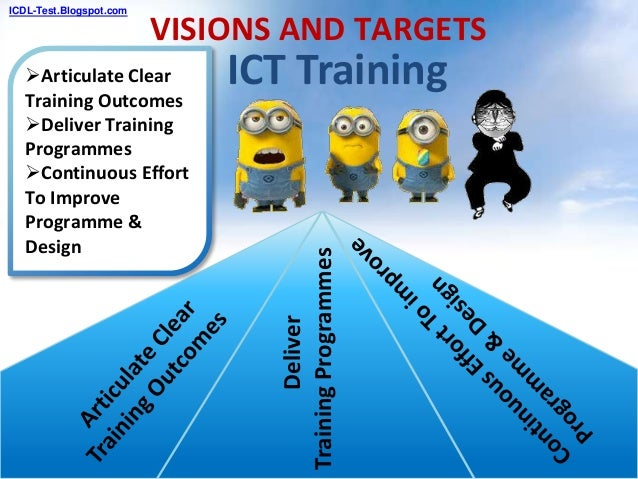 ICT Training VISIONS AND TARGETS Articulate Clear Training Outcomes Deliver Training Programmes Continuous Effort To Im...