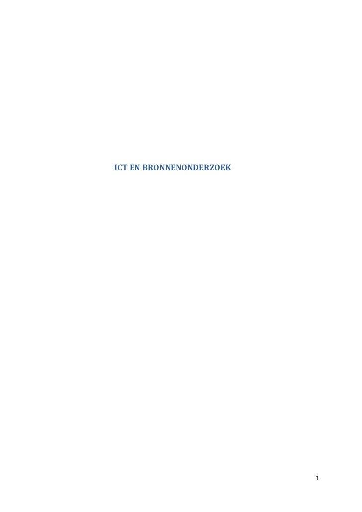 ICT EN BRONNENONDERZOEK                                                 Inhoudstafel...