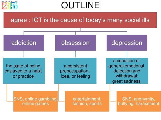 ict causes social ills Social ills essay sample  it is obvious that ict gives way to addiction with its unrestricted accessibility and this leads to social ills third, ict causes .