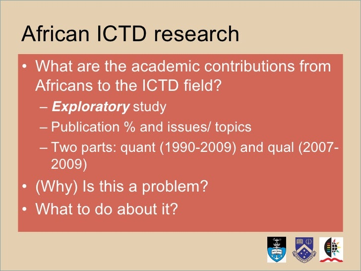 ICTD Research by Africans: Origins, Interests, and Impact Slide 2