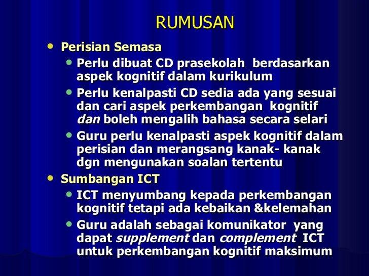 RUMUSAN <ul><li>Perisian Semasa </li></ul><ul><ul><li>Perlu dibuat CD prasekolah  berdasarkan aspek kognitif dalam kurikul...