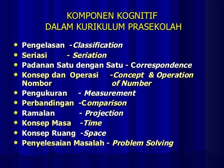 KOMPONEN KOGNITIF  DALAM KURIKULUM PRASEKOLAH <ul><li>Pengelasan  - Classification </li></ul><ul><li>Seriasi  -  Seriation...