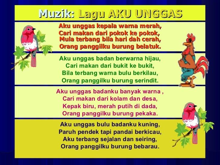 Muzik:  Lagu AKU UNGGAS Aku unggas kepala warna merah, Cari makan dari pokok ke pokok,  Mula terbang bila hari dah cerah, ...