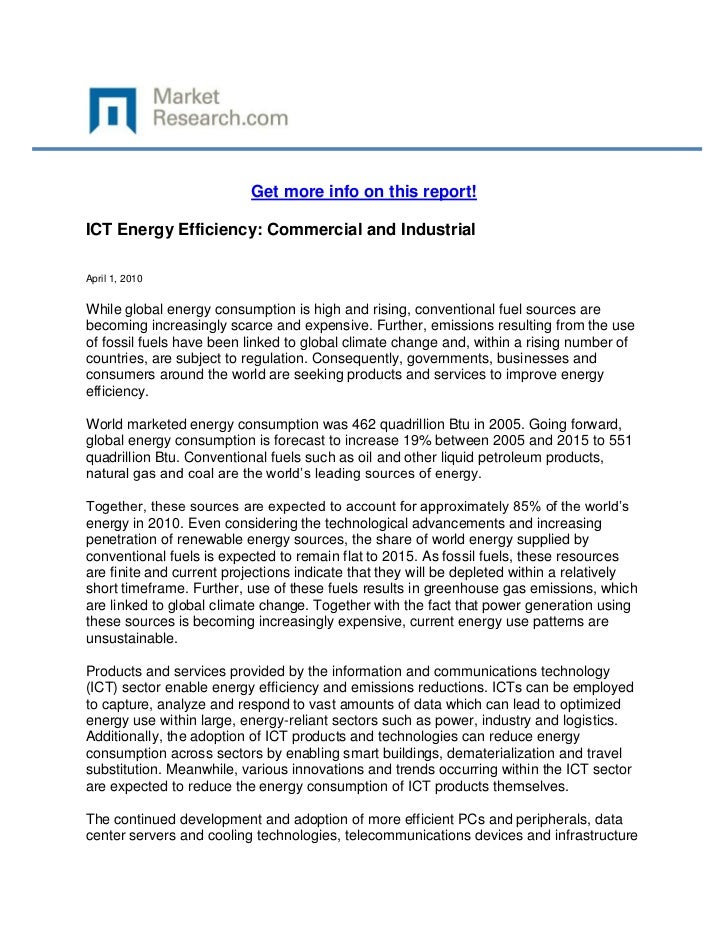 Get more info on this report!ICT Energy Efficiency: Commercial and IndustrialApril 1, 2010While global energy consumption ...