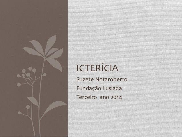 Suzete Notaroberto Fundação Lusíada Terceiro ano 2014 ICTERÍCIA
