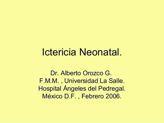 Ictericia Neonatal. Dr. Alberto Orozco G. F.M.M. , Universidad La Salle. Hospital Ángeles del Pedregal. México D.F. , Febr...