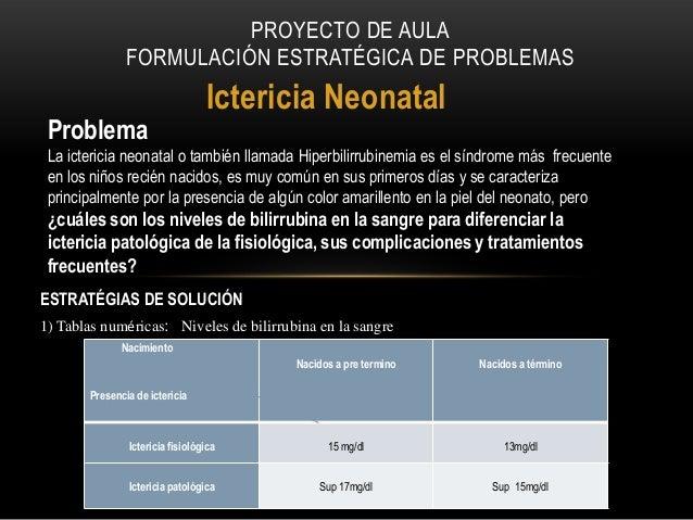 PROYECTO DE AULA FORMULACIÓN ESTRATÉGICA DE PROBLEMAS  Problema  Ictericia Neonatal  La ictericia neonatal o también llama...