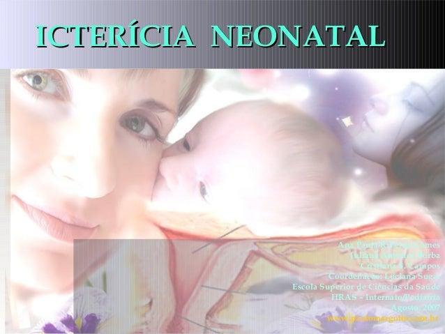 ICTERÍCIA NEONATALICTERÍCIA NEONATAL Ana Paula Ribeiro Gomes Juliana Antunes Borba Cristiana S. Campos Coordenação: Lucian...
