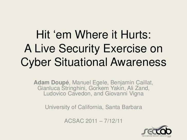 """Hit """"em Where it Hurts:A Live Security Exercise onCyber Situational Awareness  Adam Doupé, Manuel Egele, Benjamin Caillat,..."""
