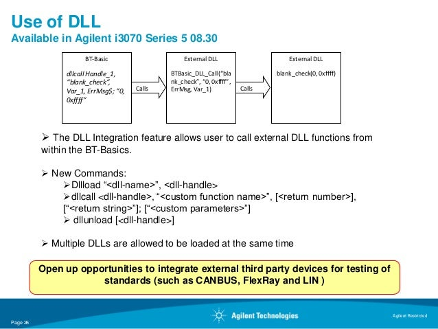 Use of DLLAvailable in Agilent i3070 Series 5 08.30                      BT-Basic                     External DLL        ...