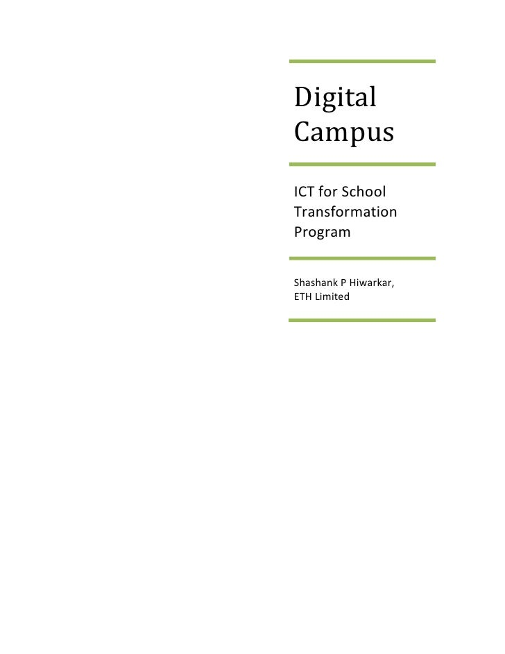 DigitalCampusICT for SchoolTransformationProgramShashank P Hiwarkar,ETH Limited