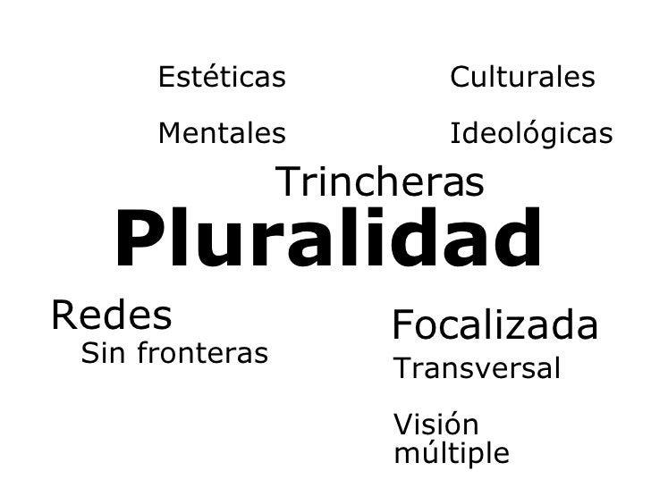 Pluralidad Redes Focalizada Transversal Visión múltiple Trincheras Ideológicas Culturales Sin fronteras Mentales Estéticas