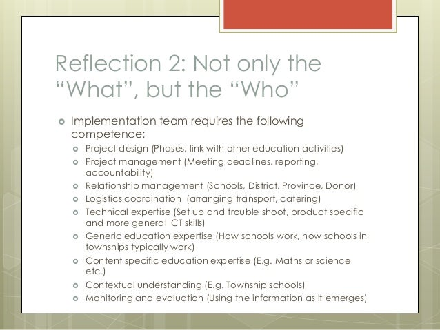 Reflection of team work
