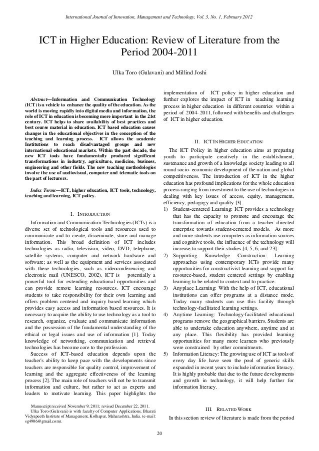 information technology literature review