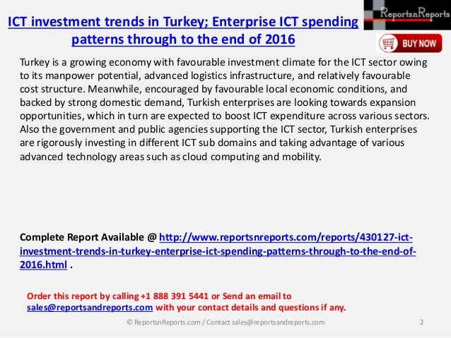 ICT investment trends in Turkey; Enterprise ICT spending patterns through to the end of 2017