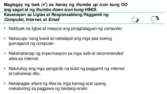 paano tamang paggamit ng kompyuter Aralin 7:ligtas at responsableng paggamit ng kompyuter, internet, at email aralin 8:ang mga panganib na dulot ng malware at computer virus  aralin 8: paano mag .