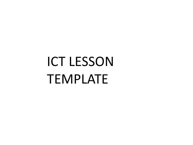 ICT LESSON TEMPLATE