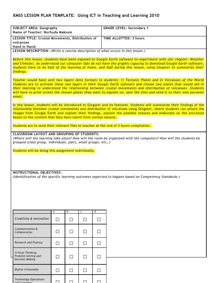 XMSS LESSON PLAN TEMPLATE: Using ICT in Teaching and Learning 2010  SUBJECT AREA: Geography                               ...