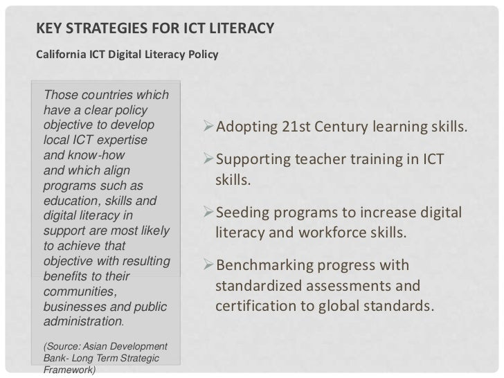 ICT Literacy Report and Plan Slide 2