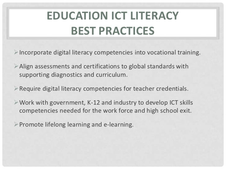 ICT Literacy Report and Plan Slide 3