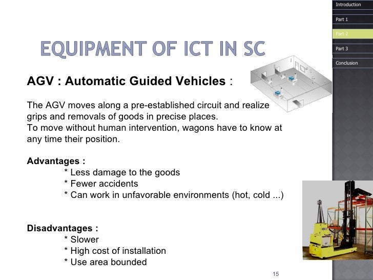 AGV : Automatic   Guided   Vehicles   : The AGV moves along a pre-established circuit and realize grips and removals of go...