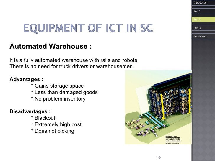 Automated   Warehouse  : It is a fully automated warehouse with rails and robots.  There is no need for truck drivers or w...