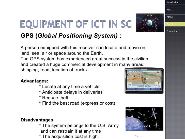 GPS ( Global Positioning System)  : A person equipped with this receiver can locate and move on  land, sea, air or space a...